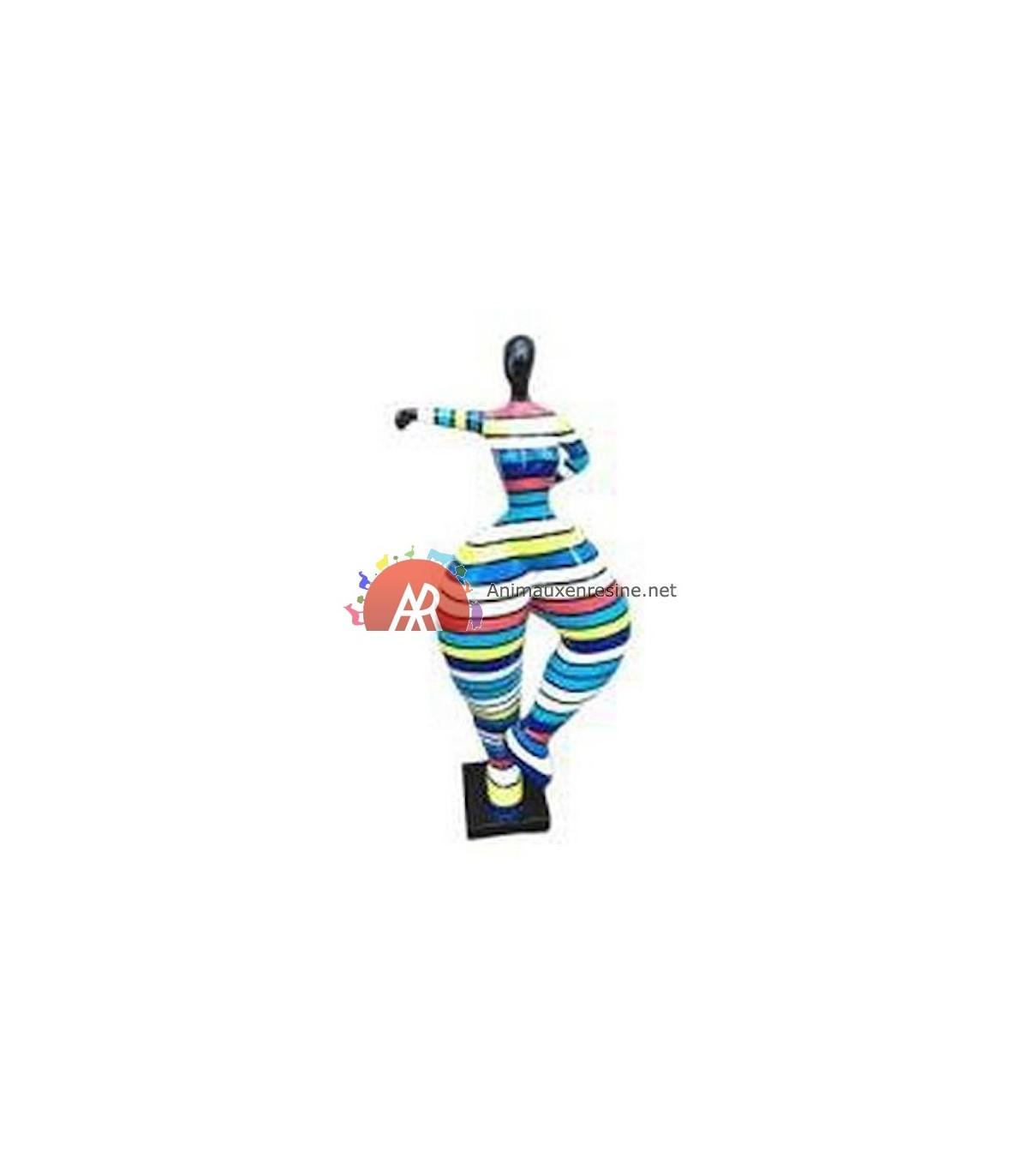 Sculpture Femme Ronde Colorée statue deco grande taille femme design 1 en résine multicolore grand modèle  | animauxenresine