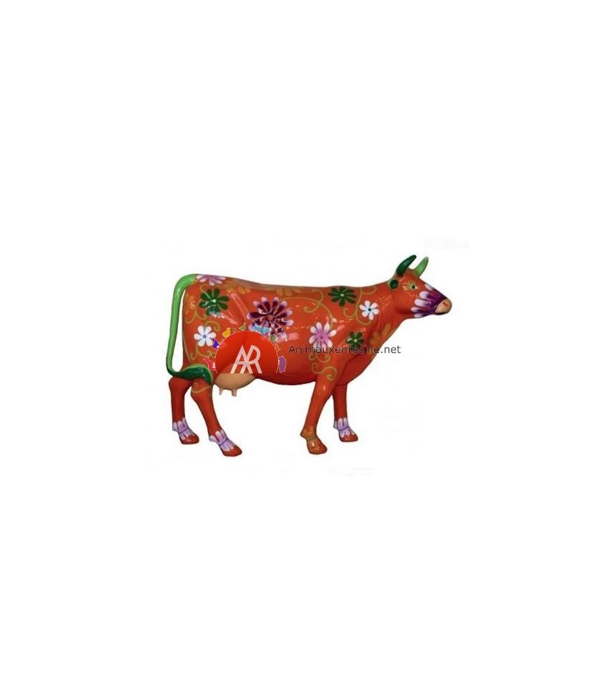 vache decorative ext rieure orange fleurs xxl en r sine. Black Bedroom Furniture Sets. Home Design Ideas